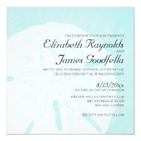 Rustic Beach Sand Dollar Wedding Invitations