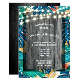 Rustic beach stringlights tropical jungle wedding invitation
