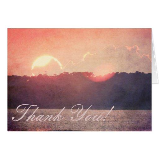Rustic Beach Sunset Wedding Thank You Greeting Card