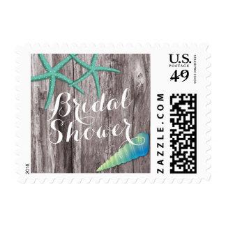 Rustic Beach Theme Seashells Bridal Shower Stamps