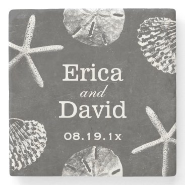 Beach Themed Rustic Beach Themed Seashells Chalkboard Wedding Stone Coaster