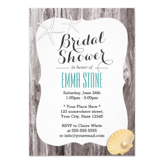 Rustic Beach Themed Wood Background Bridal Shower Card