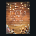 """Rustic Beach Tropical Nautical Birthday Party Card<br><div class=""""desc"""">Adult beach theme birthday invitations featuring a rustic wood barn background, twinkle string lights, sandy beach with a starfish and seashells. The template wording, font style and color can be easily personalized to suit your requirements. If you have a question about this design you can click on the &quot;contact this...</div>"""