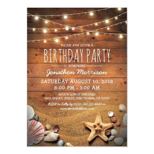 Rustic Beach Tropical Nautical Birthday Party Invitation