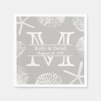 Rustic Beach Wedding Monogram Laced Silver Paper Napkin