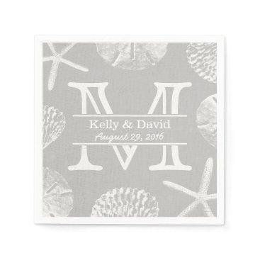 Beach Themed Rustic Beach Wedding Monogram Laced Silver Paper Napkin