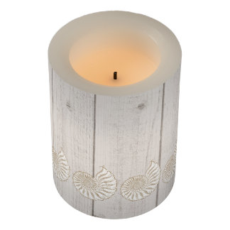 Rustic Beach Wood Image Shell Candle