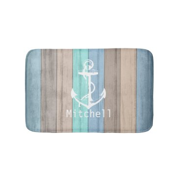 Beach Themed Rustic Beach Wood Nautical Stripes & Anchor Bath Mat