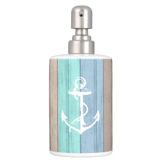 Rustic Beach Wood Nautical Stripes Anchor Bathroom Set