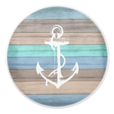 Beach Themed Rustic Beach Wood Nautical Stripes & Anchor Ceramic Knob