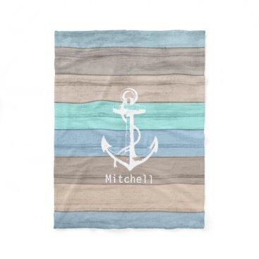 Beach Themed Rustic Beach Wood Nautical Stripes & Anchor Fleece Blanket