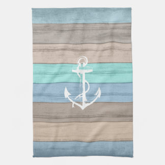 Rustic Beach Wood Nautical Stripes & Anchor Kitchen Towel