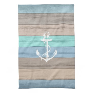 Beach Themed Rustic Beach Wood Nautical Stripes & Anchor Kitchen Towel