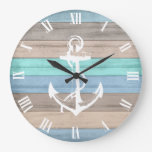 Rustic Beach Wood Nautical Stripes & Anchor Large Clock