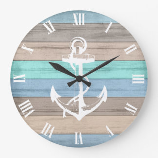 Rustic Beach Wood Nautical Stripes & Anchor Large Clock
