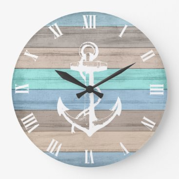 Beach Themed Rustic Beach Wood Nautical Stripes & Anchor Large Clock