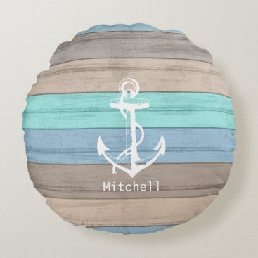 Beach Themed Rustic Beach Wood Nautical Stripes & Anchor Round Pillow