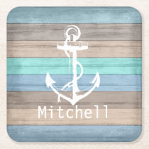 Rustic Beach Wood Nautical Stripes & Anchor Square Paper Coaster