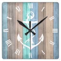 Rustic Beach Wood Nautical Stripes & Anchor Square Wall Clock