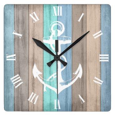Beach Themed Rustic Beach Wood Nautical Stripes & Anchor Square Wall Clock