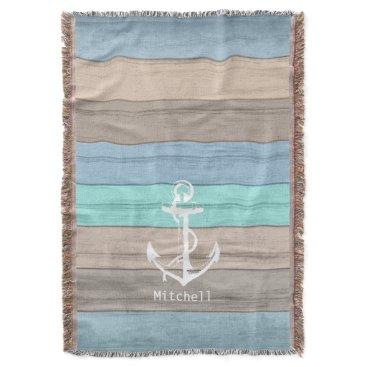 Beach Themed Rustic Beach Wood Nautical Stripes & Anchor Throw Blanket