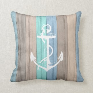 Rustic Beach Wood Nautical Stripes & Anchor Throw Pillow