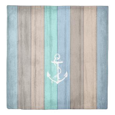 Beach Themed Rustic Beach Wood Stripe Anchor Pattern Duvet Cover