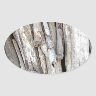 Rustic Beachy Driftwood Stack from Oregon Coast Oval Sticker