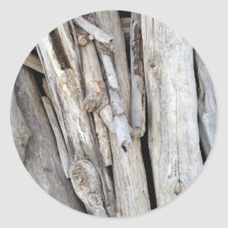 Rustic Beachy Driftwood Stack from Oregon Coast Classic Round Sticker