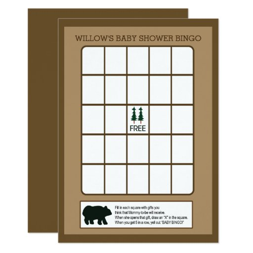 Rustic Bear Baby Shower Bingo Game Card