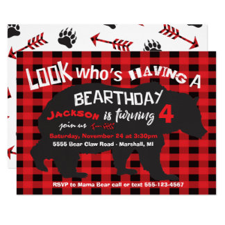 Rustic Bear Birthday Invitation with flannel