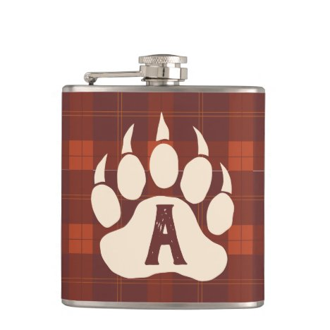Rustic Bear Claw Flannel Plaid Monogrammed Flask