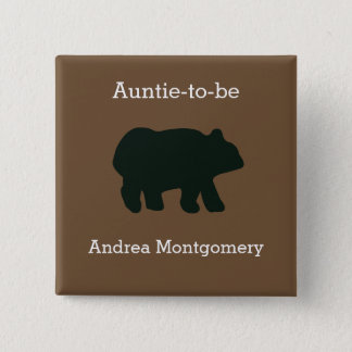 Rustic Bear Custom Button Name Tag