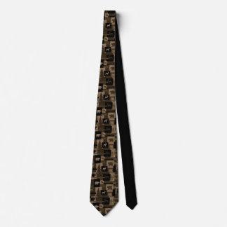 Rustic bear moose wood pattern necktie
