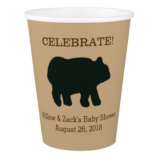 Rustic Bear Paper Cups (Light Tan)