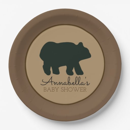 Rustic Bear Paper Plate (Brown)