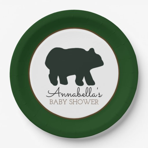 Rustic Bear Paper Plate (Forest Green)