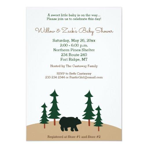 Rustic Bear Pine Tree Custom Invitation