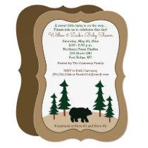 Rustic Bear Pine Tree Die Cut Invitation