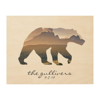 Rustic Bear Wedding Guest Signature Alternative Wood Print