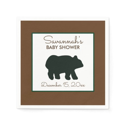 Rustic Bear Woodland Custom Napkin