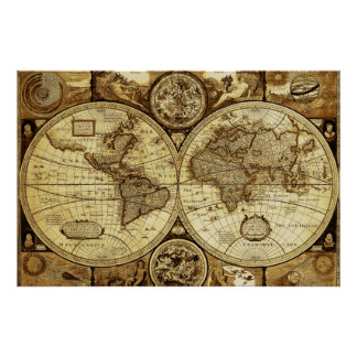 Rustic beautiful Vintage old world Map Poster