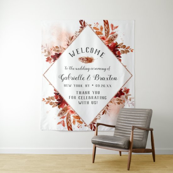 Rustic Beauty Floral Framed Autumn Wedding Welcome Tapestry