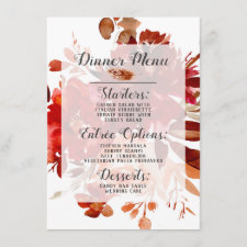Rustic Beauty Floral Framed Watercolor Bohemian Menu