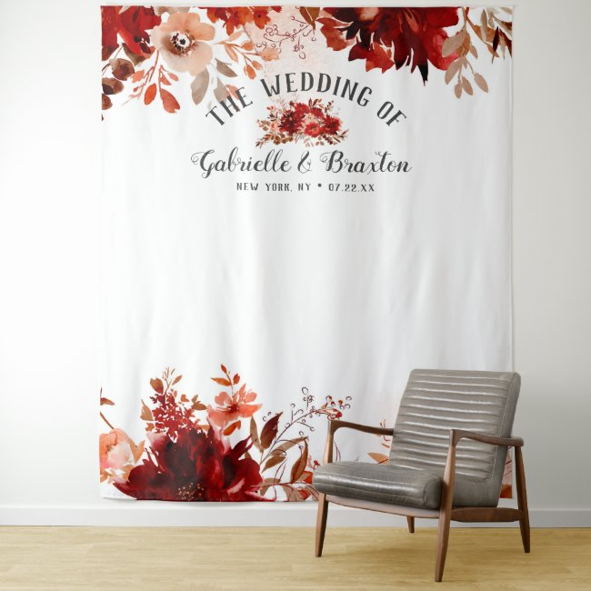 Rustic Beauty Floral Wedding Photo Booth Backdrop