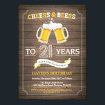 """Rustic Beer Surprise 21st Birthday Invitation<br><div class=""""desc"""">Cheers and Beers 21st Birthday Invitation Card with rustic wood background. For further customization,  please click the """"Customize it"""" button and use our design tool to modify this template.</div>"""