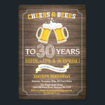 "Rustic Beer Surprise 30th Birthday Invitation<br><div class=""desc"">Cheers and Beers Surprise 30th Birthday Invitation Card with rustic wood background. For further customization,  please click the ""Customize it"" button and use our design tool to modify this template.</div>"