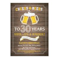 Rustic Beer Surprise 30th Birthday Invitation