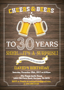 Rustic Beer Surprise 30th Birthday Invitation
