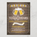 """Rustic Beer Surprise 40th Birthday Invitation<br><div class=""""desc"""">Cheers and Beers Surprise 40th Birthday Invitation Card with rustic wood background. For further customization,  please click the """"Customize it"""" button and use our design tool to modify this template.</div>"""
